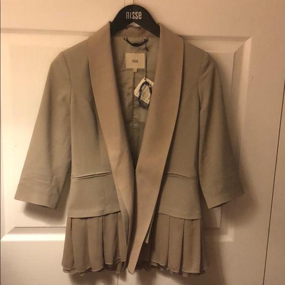 nisse Jackets & Blazers - Taupe blazer with silk pleats